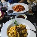 Duck pasta in foreground & carbonara behind.