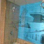 Стеклянная стена ванной комнаты с изображением Титаника.