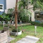 little courtyard outside hotel