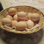 The wonderful hosts brought us fresh eggs from their chickens