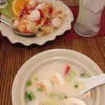 Shrimp tom kha, som tam and coconut water