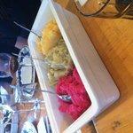 Vegan mash: rose tinted, celeriac, carrot and swede