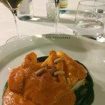 Cod, romesco and spinach
