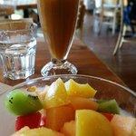 Fruit salad and orange tea