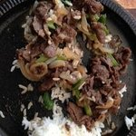 half eaten bulgogi over rice :-) so great, forgot to take the photo before we started eating!