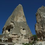 My room was in the rock formation, or fairy chimney, on the right with the balcony out the front