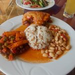 chicken, meatballs, dried beans and rice for lunch
