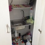 Cupboard with sink and washing machine
