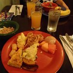 Our Breakfast plate..be sure the try the Jungle Juice and Bobotie Frittata!