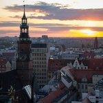 Закат над Вроцлавом с башни костела Св. Марии Магдалины