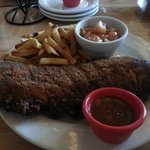 Great dry spiced ribs with fries, cinnamon spiced apples.