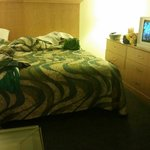 King bed (dingy), meager tv