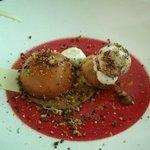 Caramel desert with ice cream