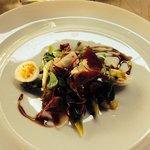 Asparagus app with buffalo mozzarella , hen's egg and bacon salad