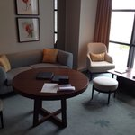 Suite included a comfy seating area, bar and work table.