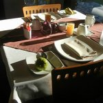 Breakfast table in morning light