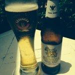 cold poolside beer