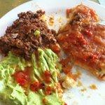 My personal arepa: guacamole, hogao and sausage