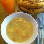 the typical lunch soup and juice