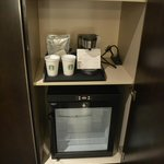 Coffee maker and fridge