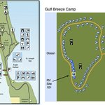 Map of campgrounds. Recommend Gulf Breeze Camp