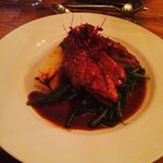 Delicious Duck with dauphinoise potatoes and green beans