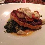 Crispy Atlantic salmon with spinach, crab meat, shrimp & scallop. Amazing!!