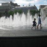 Fountatin at Piccadilly Gardens.