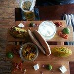 'Medina Mezze' Board: hummus, baba ganoush, tzatziki, olives, feta, tabouleh & pittas