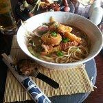 'Taishoken Ramen': crispy BBQ belly pork, togarashi scallops, noodles, kimchi, egg & shiitake da