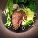 Tea smoked Pigeon with sorrel, sweetcorn & pickled shallots
