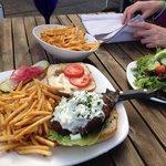 Wonderful veggie burger with tahini sauce.