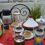 Breakfast on the roof terrace.