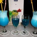 Blue hawaii cocktail and kamakzi