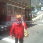 My wife hopping on the Cable Car's