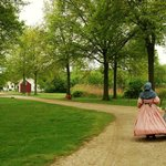 Ladies Walking at Old Bethpage Village Civil War Encampment