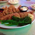 The seafood platter. Fish and oysters.