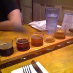 Beer tasting tray - some beer tasted already!