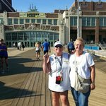 my friend and I on a beautiful day at Asbury Park boardwalk