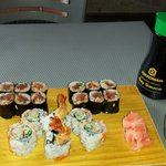 Spicy tuna roll and shrimp tempura roll