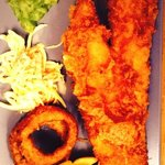 fish, chips, onion rings, slaw and mushy peas