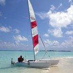 Catamaran on the Sandbank