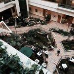 view down to the atrium lobby
