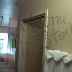 """A nice personal touch:  """"Welcome Mr. Stoehr"""" on the mirror."""