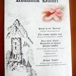Menu romantique au Swiss-Chalet