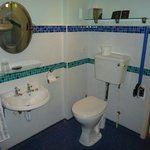 Disabled access room toilet (no bar on wall)