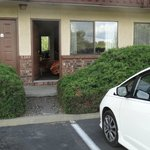 Our car and room door at The Cedars Inn