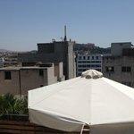 View from roof top (Akropolis behind buildings)