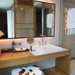 Vanity area & entrance to bathroom/wardrobe