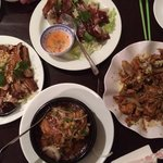 chicken and cucumber, roast duck half, caramelised pork, pepper fish enough for six